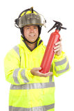 Il vigile del fuoco dimostra l'estintore Fotografia Stock