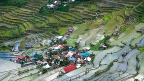 Il villaggio alloggia vicino ai campi dei terrazzi del riso Banaue, Filippine Immagine Stock Libera da Diritti