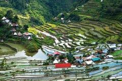 Il villaggio alloggia vicino ai campi dei terrazzi del riso Textu astratto stupefacente Immagini Stock Libere da Diritti