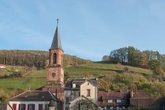 il villaggio alsaziano - miniere aus. della st Marie Fotografia Stock