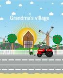 Il villaggio della nonna Illustrazione di vettore Fotografia Stock Libera da Diritti
