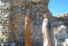 Il villaggio di Eze, sito turistico rinomato su Riviera francese, vicino a Nizza, è famoso universalmente per la vista del mare d fotografia stock libera da diritti