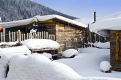 Il villaggio di neve Fotografia Stock