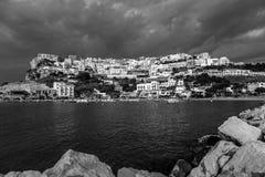 Il villaggio di Peschici (Puglia-Italia) - in bianco e nero Fotografia Stock