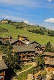Il villaggio di Ping'an, parte del riso Tellus della spina dorsale del drago Immagine Stock Libera da Diritti