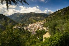 Il villaggio di Saorge, Alpes-Maritimes, Provenza Immagine Stock Libera da Diritti