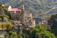 Il villaggio di Saorge, Alpes-Maritimes, Provenza Fotografia Stock Libera da Diritti