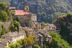Il villaggio di Saorge, Alpes-Maritimes, Provenza Fotografie Stock Libere da Diritti