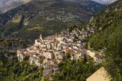 Il villaggio di Saorge, Alpes-Maritimes, Provenza in Francia Fotografie Stock Libere da Diritti