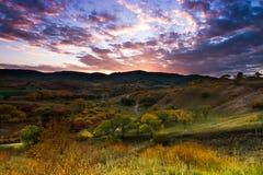 Il villaggio di tramonto Immagini Stock Libere da Diritti