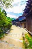 Il villaggio giapponese tradizionale di fila alloggia Tsumago V Fotografia Stock Libera da Diritti