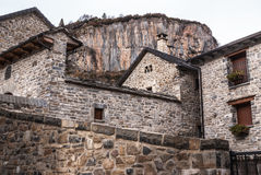 Il villaggio medievale di Torla in pyrinees della Spagna dell'Aragona Fotografia Stock Libera da Diritti