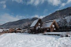 Il villaggio nell'inverno, Giappone di Shirakawago Fotografie Stock Libere da Diritti