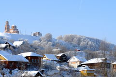 Il villaggio in neve Winter4 Immagini Stock