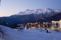 Il villaggio olimpico nella stazione sciistica di Rosa Khutor Immagini Stock Libere da Diritti