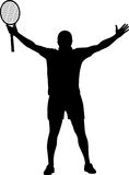 Il vincitore del tennis ha sollevato le sue mani Immagini Stock Libere da Diritti