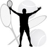 Il vincitore del tennis ha sollevato le sue mani Immagine Stock Libera da Diritti