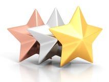 Il vincitore dorato, d'argento e bronzeo stars su fondo bianco Immagine Stock