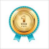 Il vincitore, numera un distintivo dorato con l'insegna, Fotografia Stock