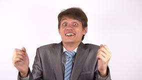 Il vincitore, un giovane uomo d'affari Excitement archivi video