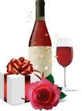Il vino, contenitore di regalo ed è aumentato. Fotografie Stock