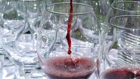 Il vino da una bottiglia è versato in un vetro, movimento lento video d archivio