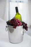 Il vino imbottiglia il secchio del metallo Fotografie Stock Libere da Diritti