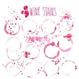 Il vino macchia l'illustrazione dell'acquerello di vettore Il vino spruzza e macchie isolate su fondo bianco Fotografia Stock