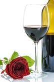 Il vino rosso ed il colore rosso sono aumentato Fotografie Stock Libere da Diritti