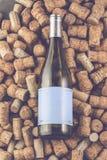 Il vino tappa la forma e la vite dell'uva sulla tavola di pietra fotografia stock libera da diritti