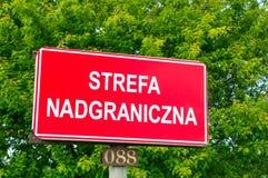 Il voivodato di Pomerania, Polonia - 17 giugno 2017: Segno di zona di frontiera Immagini Stock