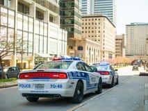 Il volante della polizia risponde ad un'emergenza Fotografia Stock