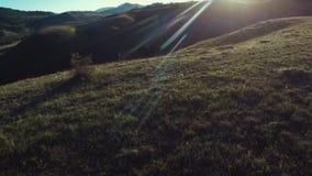 Il volo aereo del fuco sopra la valle con le colline al Sun di sera rays sull'orizzonte video d archivio