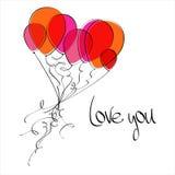Il volo balloons il cuore Immagine Stock Libera da Diritti