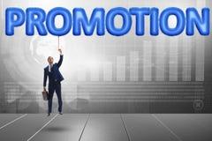 Il volo dell'uomo d'affari nel concetto di promozione Immagini Stock Libere da Diritti