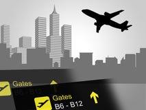 Il volo della città mostra gli aerei e la città delle costruzioni Fotografia Stock