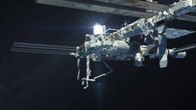 Il volo della Stazione Spaziale Internazionale sopra la terra illustrazione vettoriale