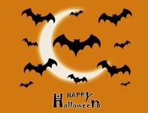 Il volo di molti pipistrelli sul fondo arancio della luna illustrazione di stock