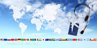 Il volo di ricerca e di prenotazione ettichetta il concep di vacanza di viaggio di viaggio æreo Immagini Stock Libere da Diritti