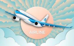 Il volo di un aereo di linea del passeggero Velivoli Cielo variopinto, sole luminoso e nuvole L'effetto di carta tagliata illustrazione vettoriale
