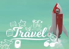 il volo ed il viaggio di 3D Rocket mandano un sms a con i grafici dei disegni Fotografia Stock Libera da Diritti