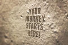 Il vostro viaggio inizia qui l'immagine concettuale Fotografia Stock Libera da Diritti