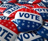 Il voto badges il patriottismo di simbolo di elezione di politica Fotografia Stock