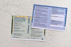 Il voto-passaggio olandese o la convocazione per l'elezione sul 20 marzo 2019 fotografia stock libera da diritti