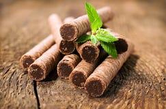 Il wafer del cioccolato rotola con le foglie della menta Fotografie Stock Libere da Diritti