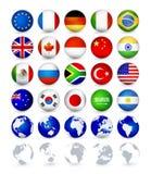 Il web delle bandiere di paese G20 abbottona i globi Immagini Stock