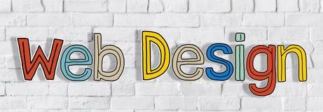 Il web design di parole su un muro di mattoni Fotografia Stock Libera da Diritti