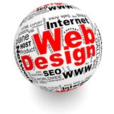 Il web design ha orientato le parole sulla palla Fotografia Stock