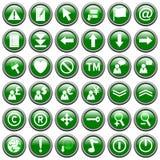 Il Web rotondo verde si abbottona [2] Immagini Stock Libere da Diritti