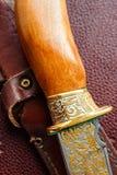 Il whith del coltello ha inciso la lama sui precedenti marroni Chiuda sulla vista fotografie stock